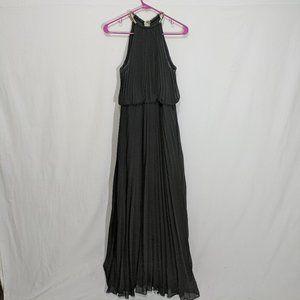 Xscape Pleated Chiffon Dress Chain Halter Neck 12